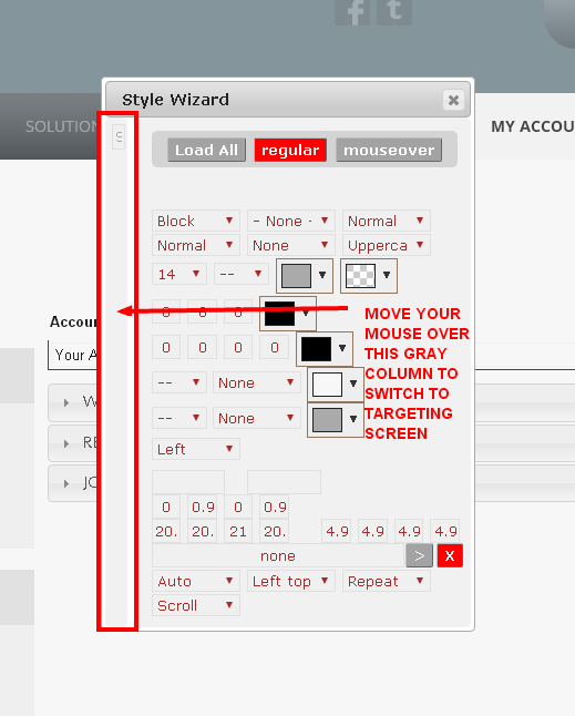 Switching from the Styling screen to the Targeting screen in the Monkey Business Quick Style Wizard