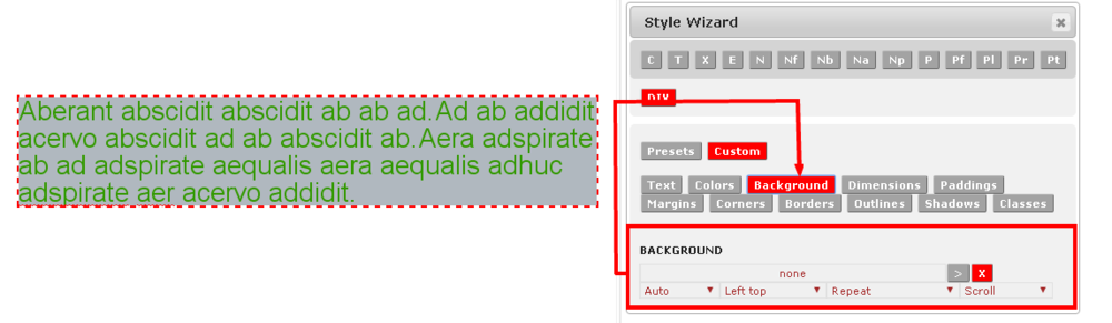 Custom Background Style in the Monkey Business Editor