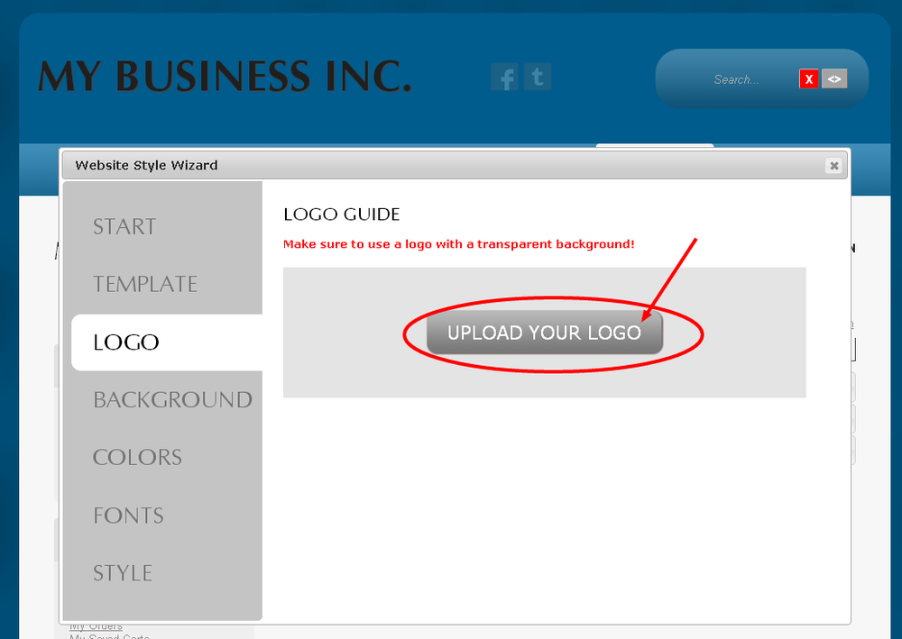 Upload your logo to customize your Monkey Business Website Design Theme