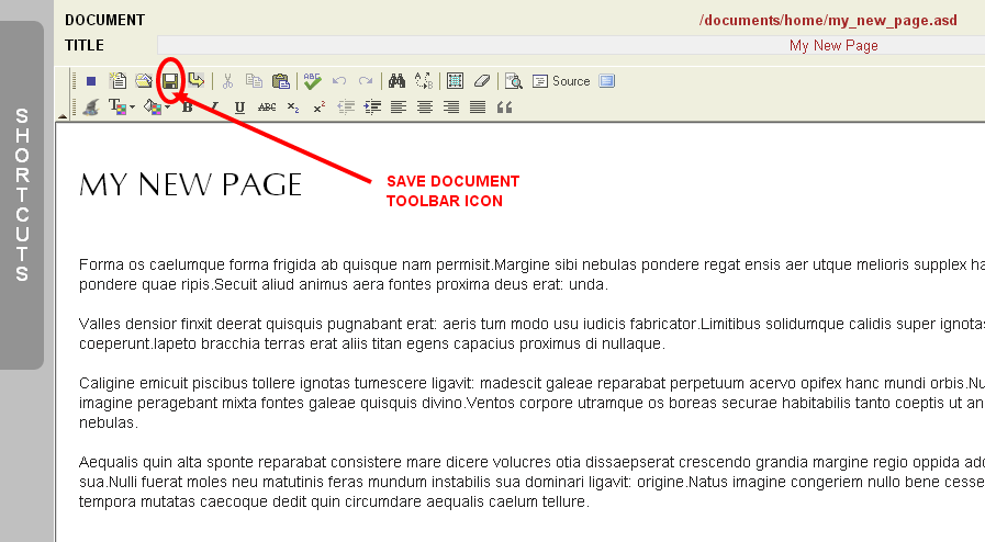 Locating the Save Document Toolbar Icon in the Monkey Business Editor