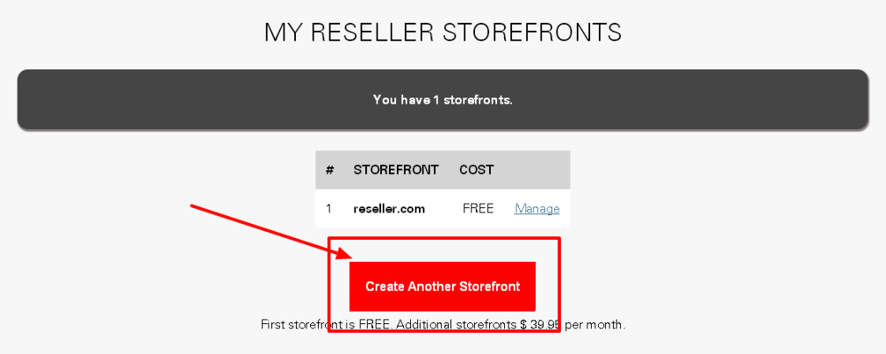 Using the Create New Storefront option on My Reseller Storefronts page