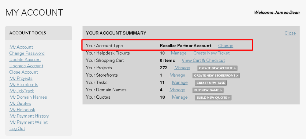 Locating your account type on your Account Summary on My Account page