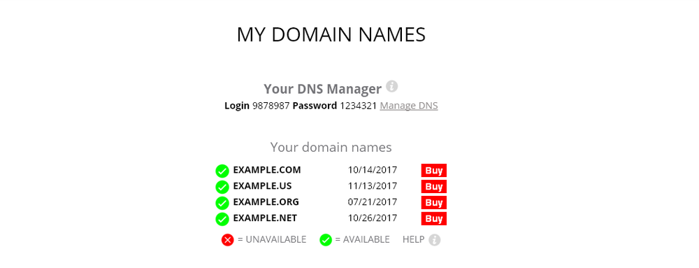 Customer Domain Names management control panel