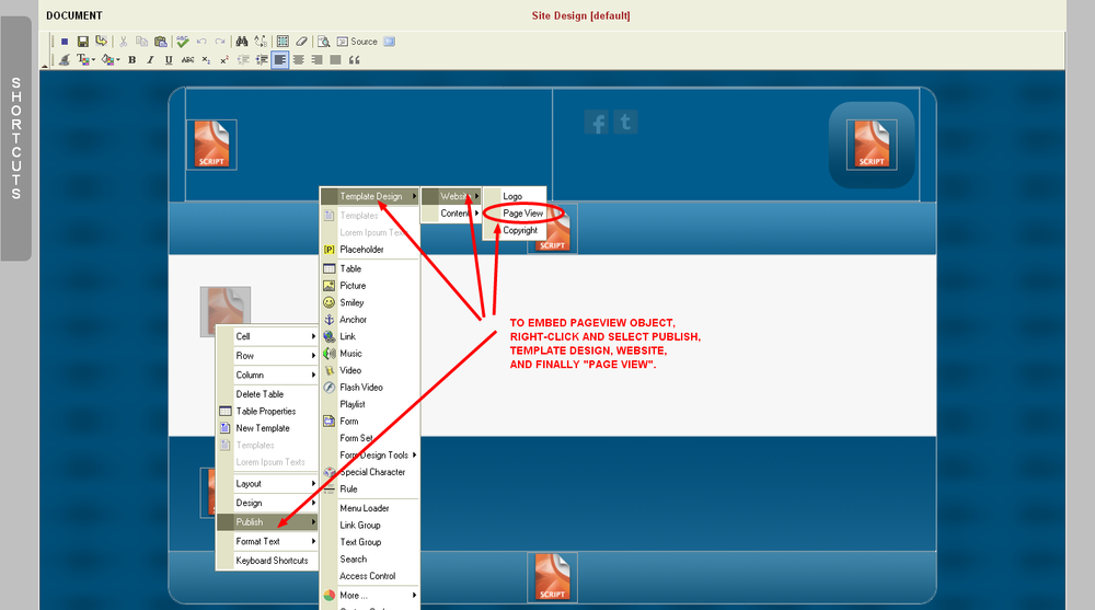 Embedding the Monkey Business Pageview Content Manager Object